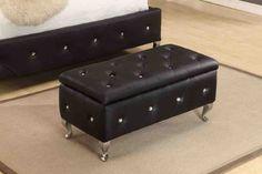 Black Storage Ottoman Bench - Home Furniture Design