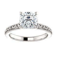 Forever One Cushion Moissanite 2ct Vintage Style by JosephDiamonds