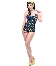 Vintage 1950s Style Pin Up Navy & Yellow Polka Dot Swimsuit #uniquevintage