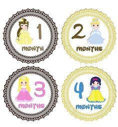 Monthly Onesie Stickers Girl Princesses Disney Snow White Cinderella Belle WATERPROOF Baby Shower Gift