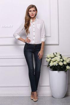 """Elegant Long Sleeve """"Lilly"""" Chiffon Woman Shirt White 2015 New Arrival Chiffon Shirt, Chiffon Blouses, Kimono Cardigan, Tunic, Sun Shirt, Chinese Clothing, Trendy Fashion, Party Dress, Street Style"""