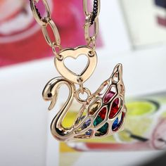 Gold Swan Pendants Crystal Swan Necklaces Two Tone Cable Chains