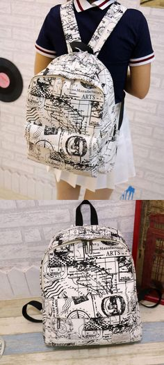 Fashion Canvas Graffiti Map Casual Backpack &Schoolbag for big sale at lilyby.com #school #backpack #bag #canvas #college #graffiti
