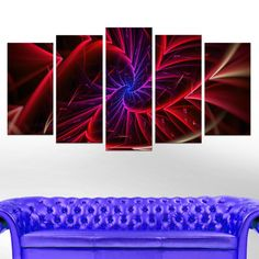 Abstract 'Purple & Entanglement' 5-piece Canvas Art Print