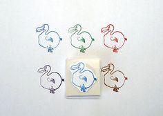 Dodo Bird Rubber Stamp Design Hand Carved Hand Made by DevonArtist