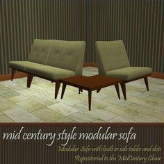 Mod The Sims - Mid Century Modular Sofa