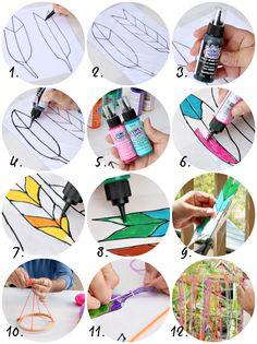 Maak van plastic flessen een prachtige veren-mobiel voor in het raam of in de tuin! - Zelfmaak ideetjes