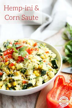 This Hemp-ini & Corn Saute is full of zucchini, Hemp Hearts, corn and parmesan cheese and it makes the perfect healthy side dish for any meal. #dinner #recipes #healthy #hemphearts