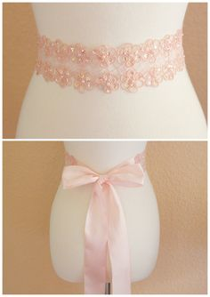Items similar to Peach Organza Flower Lace with Satin Ribbon Sash / Headband / Head Tie on Etsy Saree Belt, Saree With Belt, Ribbon Belt, Lace Ribbon, Wedding Belts, Wedding Day, Cinto Obi, Maternity Belt, Bridal Sash Belt