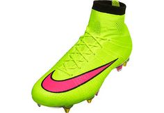 Hot at SoccerPro right now! Nike Mercurial Superfly SG-Pro Soccer Cleats - Volt and Hyper Pink Cool Football Boots, Soccer Boots, Football Shoes, Nike Football, Football Cleats, Top Soccer, Soccer Gear, Soccer Tips, Play Soccer