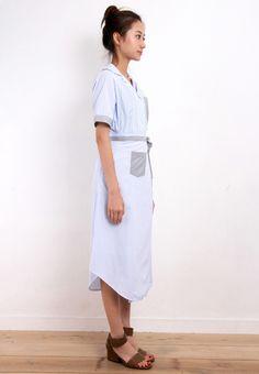 Pinstripe 2-Pieces Shirt Dress