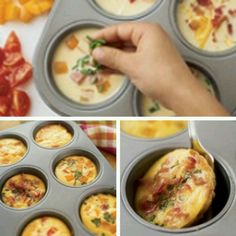 Mini Omlets- Freeze if you'd like for breakfasts on the go Breakfast On The Go, Breakfast Dishes, Breakfast Time, Breakfast Recipes, Meat Recipes, Cooking Recipes, Healthy Recipes, Clean Eating, Healthy Eating