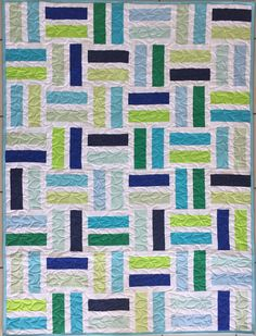 "Fun Strip Quilt, Jelly Roll Friendly, 40"" x 52"" 