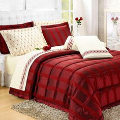 Edredom King Valentina Tafetá Chenille com 4 Porta Travesseiros Vermelho - Casaborda Enxovais