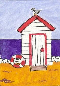 ACEO Original Watercolour Painting, Beach Hut at the Seaside