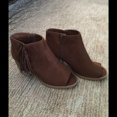 Fringed booties!!  Love these classy boots Wonderful boots to carry you through Fall! Message me with size and I'll tag you in a listing sure to sell out quickly so if you love 'em don't leave 'em NIB Retail Boutique Shoes Ankle Boots & Booties