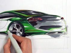 Rear quarter view car sketch demo