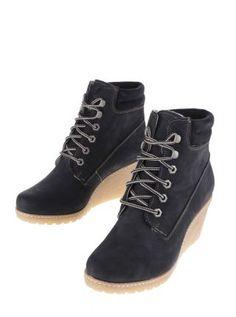 Ghete dama piele intoarsa negre cu platforma ortopedica Timberland Boots, Wedges, Casual, Shoes, Fashion, Timberland Boots Outfit, Moda, Shoes Outlet, Fashion Styles