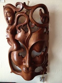 Hand Carved Wood Wall Mask Sculpture Stunning Large Wall Sculpture Bali Art | eBay