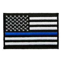 28054275952 Embroidered Thin Blue Line American Flag Patch Flag Patches