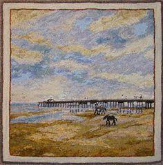 Hand hooked by Tanya Graham -- beautiful SKY & SAND DUNES...nice reflective work!