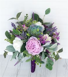 Boho Natural Touch Purple Lilac Peonies, Succulents, Roses and Sprays Silk Wedding Bouquet. A very Textured and Rich bouquet perfect for a Bohemian, Rustic or Woodland Wedding. Bouquet Succulent, Lilac Bouquet, Purple Wedding Bouquets, Flower Bouquet Wedding, Prom Bouquet, Bridal Bouquets, Wedding Bouquets With Succulents, Silk Bridal Bouquet, Wedding Dresses