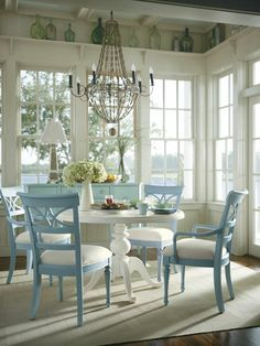 gorgeous cottage dining room with touches of sky blue