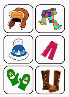 Ελένη Μαμανού: Ρούχα Χειμώνα - Καρτέλες Five Senses Preschool, Body Preschool, Weather For Kids, Winter Kids, Winter Activities For Kids, Math For Kids, Preschool Worksheets, Preschool Activities, Kids English