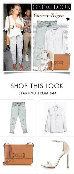"""""""Get the Look: Chrissy Teigen"""" by elske88 ❤ liked on Polyvore featuring ASOS, Boohoo, MANGO, Valentino, Stuart Weitzman, GetTheLook and rippeddenim"""