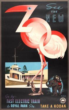 Zoo Victorian Railways Australia Melbourne Art Deco, 1930s - original vintage poster by James Northfield listed on AntikBar.co.uk