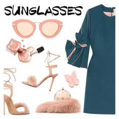 """""""Retro Sunglasses"""" by dixiebelle81 ❤ liked on Polyvore featuring Roksanda, Charlotte Olympia, Karen Walker and Alexander McQueen"""