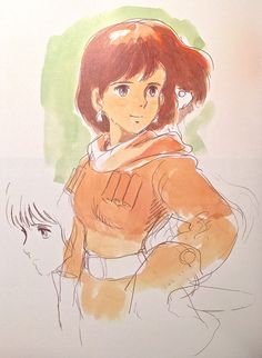 Images Drawn for the Nausicaa Motion Picture ===== Released March 1984 - image boards, tapestries drawn for the opening, etc ===== Notes: Image board of the main character, Nausicaa - the handwritten comment describes her as a bright & nimble girl