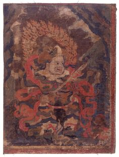 Painting. Religious. The Lokapala Virudhaka. Painted on textile. JC French - loot ??