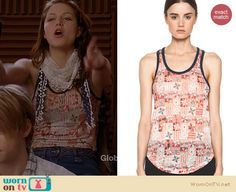 Marley's printed tank top and scarf on Glee.  Outfit details: http://wornontv.net/15769/