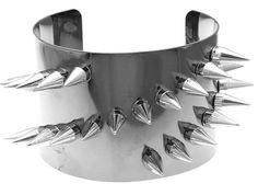 Spike Detail Cuff Bracelet Chunky Armor Hematite Silver Statement---- VERY #Maleficient----