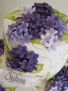 Fondant lilacs and hand painted leaves cake