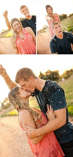 Totally cute engagement photo idea to smash water balloons or sprinklers to make it look like rain