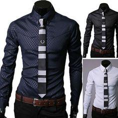 Fashion Men Casual Long sleeve Slim Fit Shirt Tops Formal Dress Shirts, I like I like....