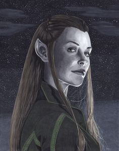 Evangeline Lilly as Tauriel from The Hobbit. Artwork done with Copic markers and black and white ink pens.