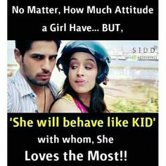 Wo krti thi behave like a child . but ab bhot strong hai. Bff Quotes, True Love Quotes, Romantic Love Quotes, Funny Quotes, Real Friendship Quotes, Sister Quotes, Qoutes, Girly Attitude Quotes, Girly Quotes
