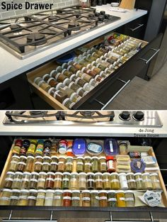 Top 10 Awesome DIY Kitchen Organization Ideas great idea if u dont have an oven under ur stove. Even otherwise, the spice drawer is a great idea. Small Kitchen Organization, Spice Organization, Kitchen Hacks, Kitchen Storage, Kitchen Decor, Organization Station, Kitchen Cleaning, Kitchen Ideas, Cleaning Tips
