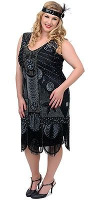 """Unique Vintage Plus Size 1920s """"The Bosley""""  Black Beaded Flapper with Beaded Fringe Dress"""