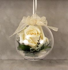 Framed Memorial Flowers: How can I preserve flowers from a funeral? Clear Ornaments, Flower Ornaments, Paper Flowers Diy, Flower Crafts, Perserving Flowers, Christmas Decorations, Christmas Ornaments, Christmas Tree, Christmas Flowers