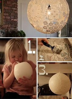 upcycled lace lamp