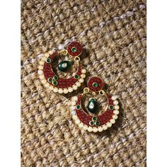 Maroon and Green Stone Embellished Chand Balis