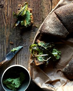 Finish Rye Bread Sandwich with Charred Ramps and Homemade Nettle Butter
