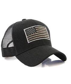 Black US Flag Patch Tactical Mesh Trucker Hat c7992d94cc
