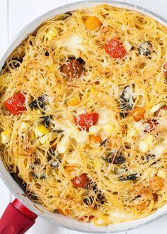 Make-Ahead Baked Spaghetti Skillet Supper! Assemble up to a day ahead and bake when ready. Made with yellow squash, cherry tomatoes, Parmesan, fontina cheese, and basil. Baked Spaghetti Casserole, Chicken Spaghetti Recipes, Pasta Recipes, Skillet Recipes, Salad Recipes, Potluck Dishes, Pasta Dishes, Toasted Ravioli, New Cookbooks