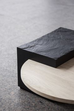 dezeen: The three pieces in the Samt Rau collection by Hamburg-based designer Natalie Weinmann are made from natural stone and solid oak with their potential uses left open to interpretation by the individual Minimalistic Design, Table Furniture, Furniture Design, Timber Furniture, Beton Design, Dezeen, Furniture Inspiration, Texture, Interior Design