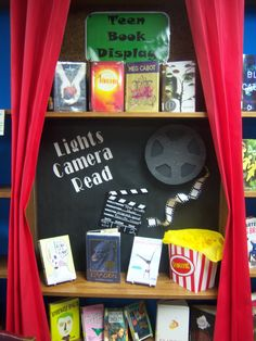 Movie Book Display....Coming Soon Board..Pick up popcorn containers at Target or make out of cardstock